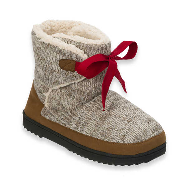 Marled Knit Tie-Front Boot