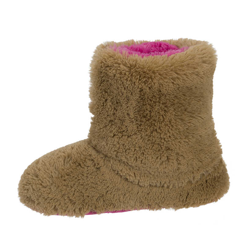 Plush Boot Slipper with Half Zip