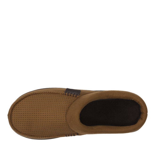 Microsuede Clog Slippers with Perforated Vamp