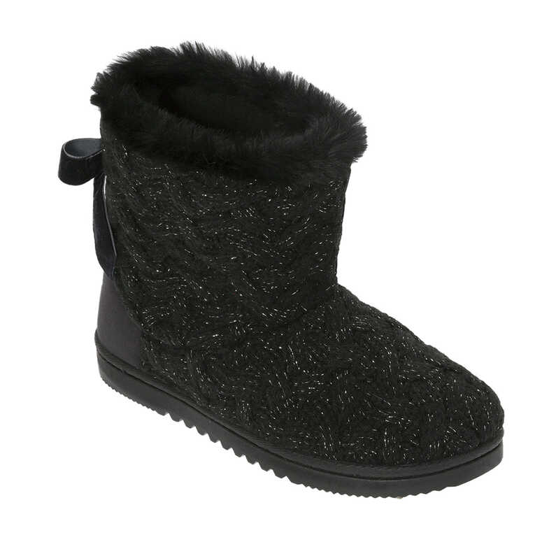 Shiny Basketweave Boot Slippers