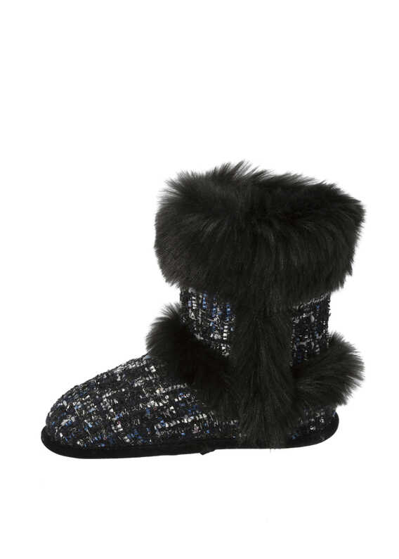 Sequined Tweed Boot Slippers