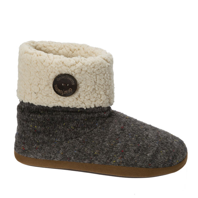 Sparkle Tweed Knit Boot Slippers