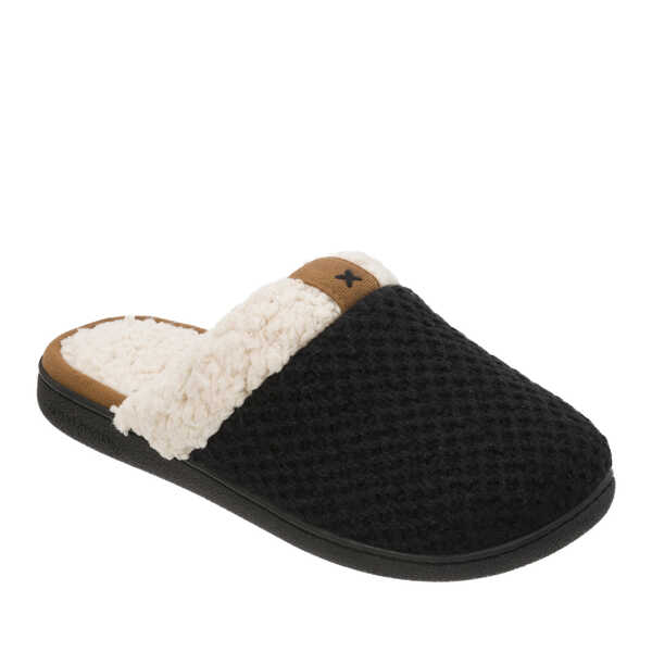 Women's Textured Knit Scuff Slipper with Sherpa Trim