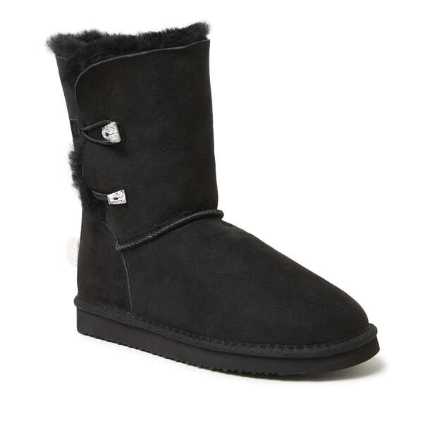 Women's 2 Button Crystal Embellished Genuine Shearling Boot