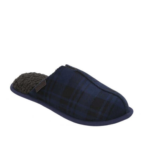 Men's Plaid Microfiber Suede Scuff with Stitch
