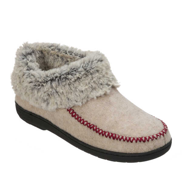 Women's Wool Blend Slipper Bootie with Faux Fur Trim