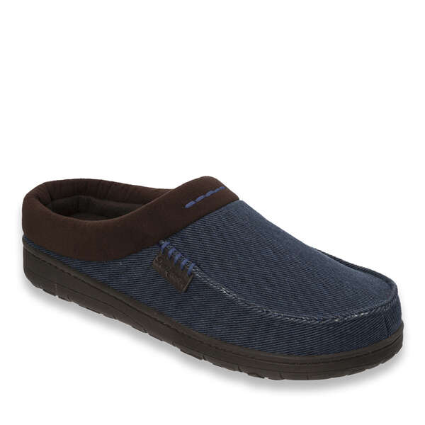 Twill and Microsuede Moc Toe Clog with Memory Foam