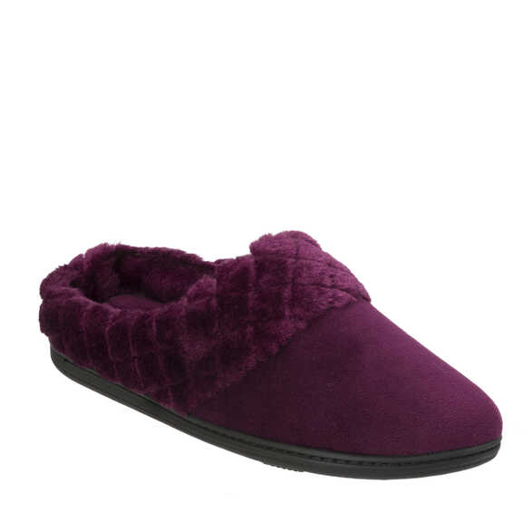 Velour Clog with Quilted Pile Cuff