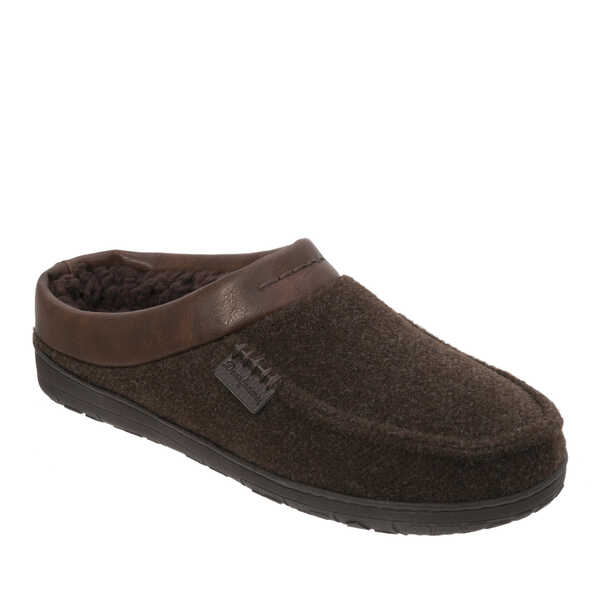 Men's Wide Width Felted Clog Slipper with Faux Leather Trim