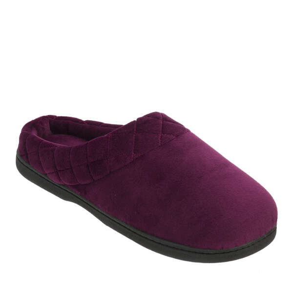 Women's Microfiber Velour Clog with Quilted Cuff