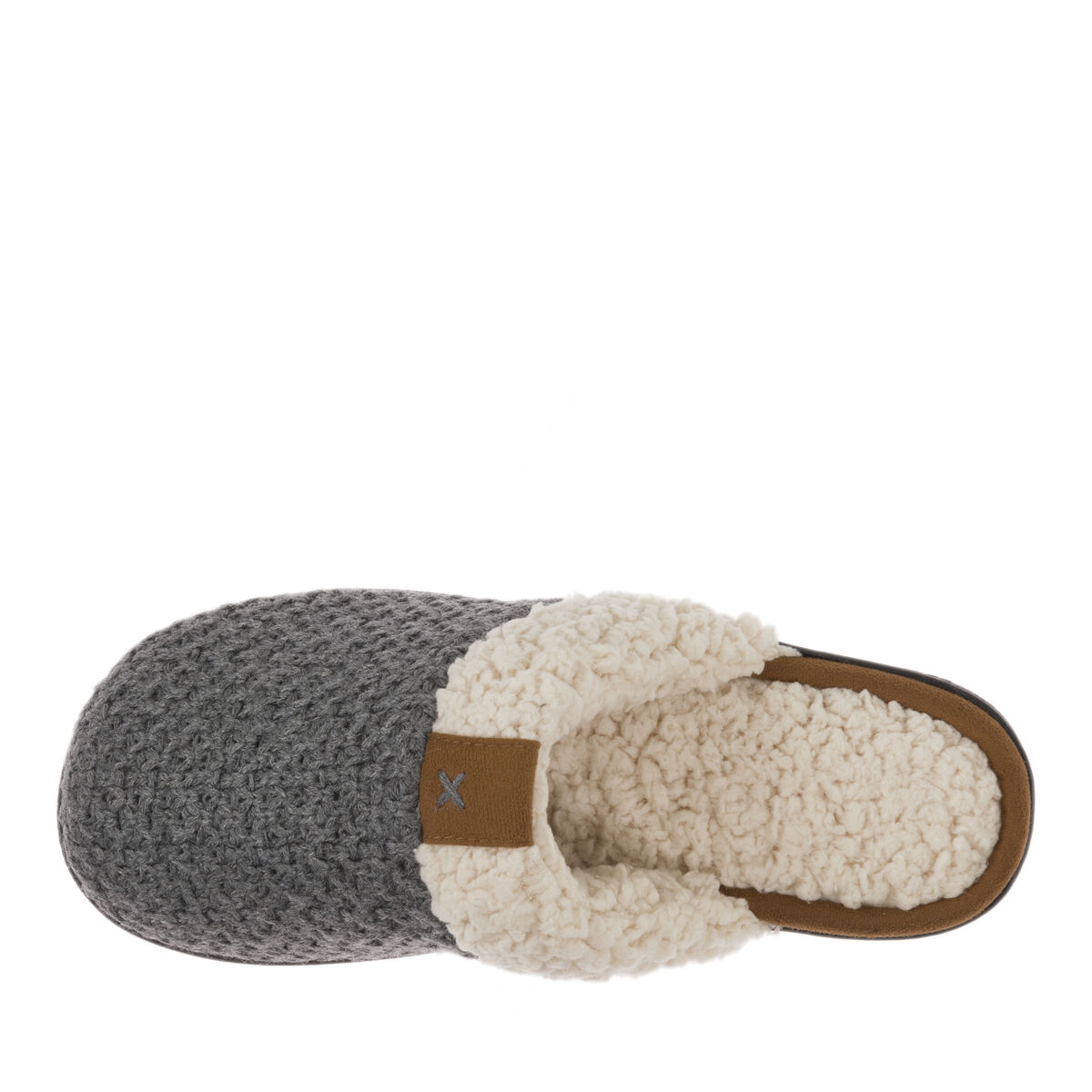Women's Wide Width Textured Knit Closed Toe Scuff