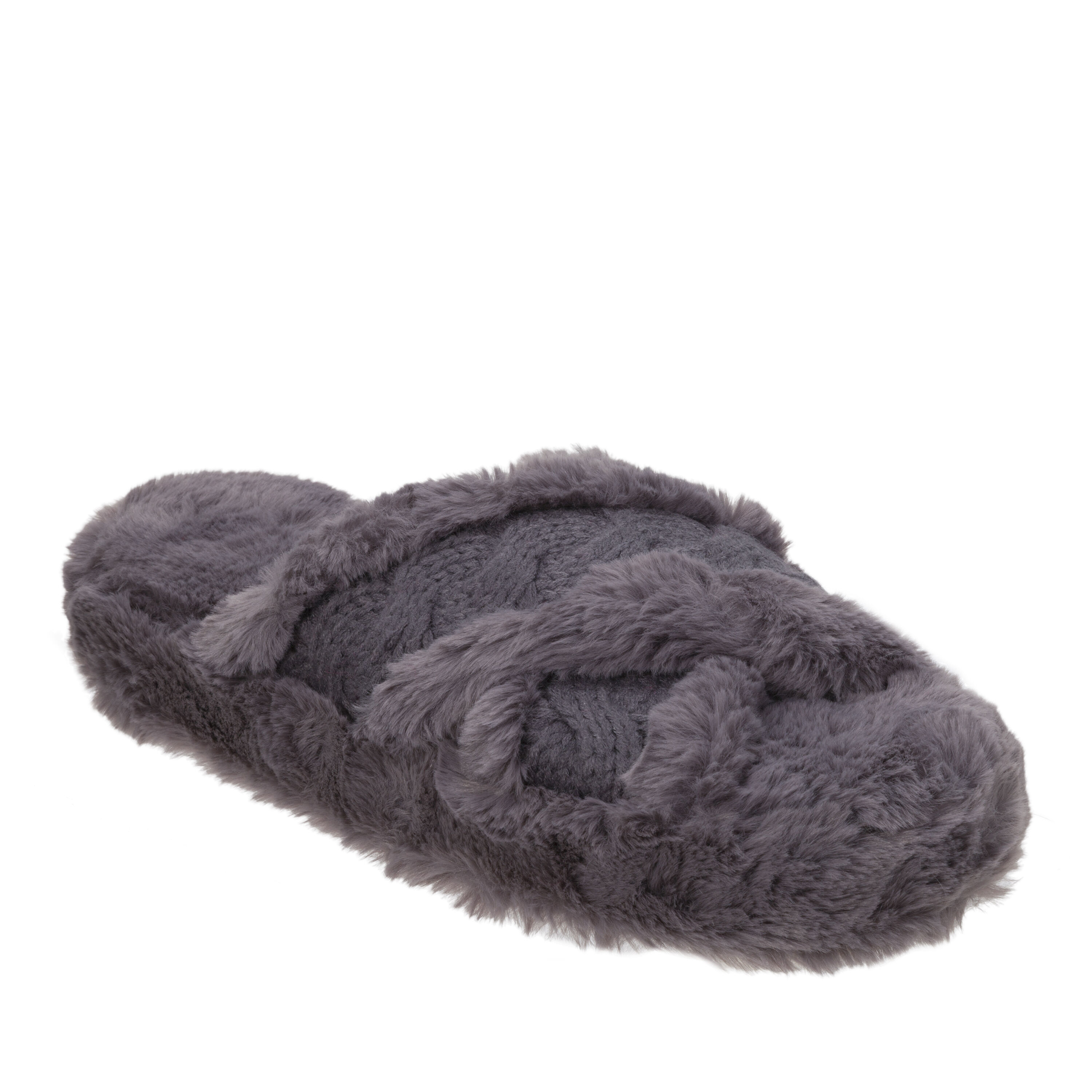 Women's Cable and Faux Fur Platform Slipper