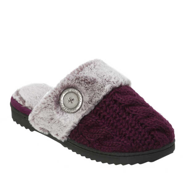 Women's Cable Knit Scuff Slipper with Faux Fur