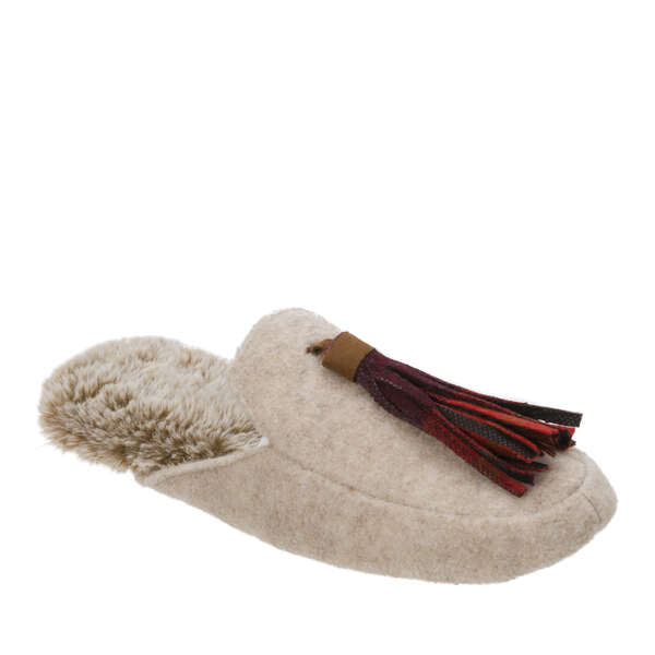 Women's Felted Mule with Plaid Tassel