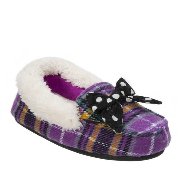 Kids Plaid Moccasin with Polka Dot Bow