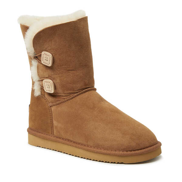 Women's 2 Button Short Genuine Shearling Boot