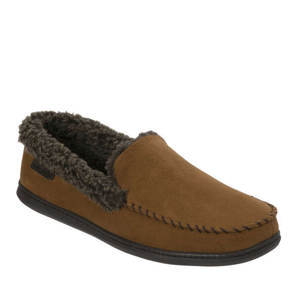 Men's Wide Width Microsuede Moccasin with Whipstitch
