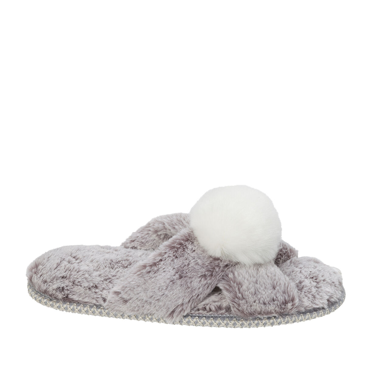 Women's X-Band Sculpted Pile Slide with Pom