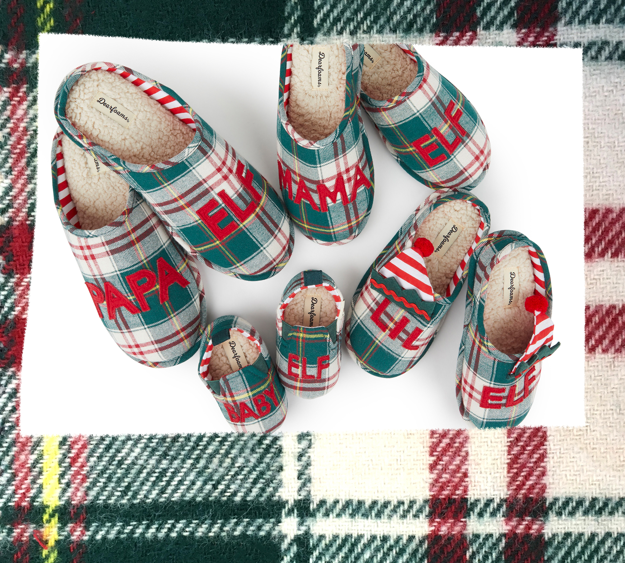 An assortment of family style Elf Plaid Slippers