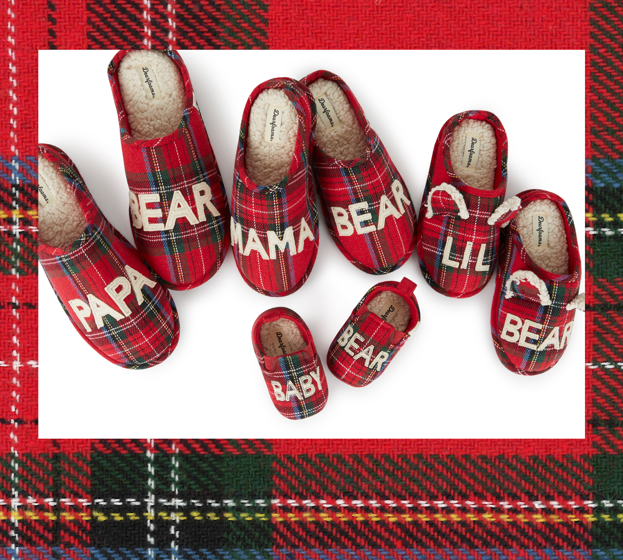 An assortment of family style Red Plaid Slippers