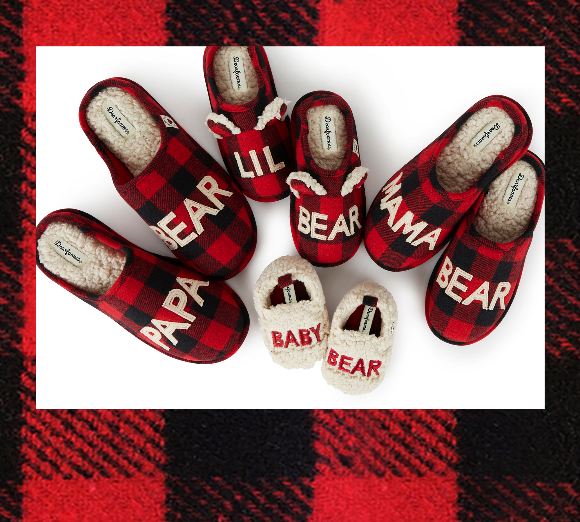 An assortment of family style Buffalo Check Slippers